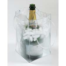 The Ice Bag folds like a gift bag, but fill it with ice and it cools wine very quickly and becomes a portable wine bucket.