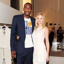 Supermodel Lara Stone, the face of Calvin Klein, and Knicks' star Amar'e Stoudemire celebrated the evening at the Calvin Klein shop.Photo: Billy Farrell/BFAnyc.com