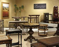 Discoveries showcases accent furniture featuring well-traveled designs. amini.com