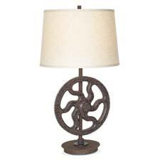 The Industrial Large Gear table lamp was Pacific Coast Lighting's biggest hit at Las Vegas Market. pacificcoastlighting.com