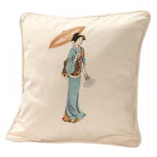 The Geisha, an embroidered design, is one of a new collection of exclusive throw pillows from Cuddledown. cuddledown.com