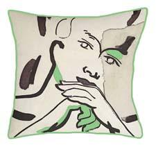 Available in four patterns and four colors, the Faces pillows from Kevin O'Brien feature designs painted by O'Brien himself. kevinobrienstudio.com