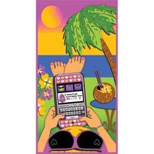 New beach towel collection includes Tweetie Sweetie featuring a vividly colored depiction of a young lady relaxing on a tropical beach and thoroughly engaged in her smart phone. loftexusa.com