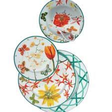 The Zrike Company introduces Petals, porcelain dinnerware in four patterns designed by artist Lulu DK, known for her unique approach to textiles. zrike.com