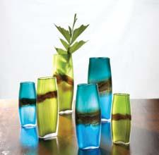 New sapphire-coco and emerald-coco striped vases from Midwest-CBK's Casa Cristina collection come in three sizes. mwcbk.com