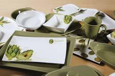 Olivo and Articiocco, two new collections from LC Designs, a new gourmet serveware division of Lynns Concepts, offer two distinct glossy white collections featuring photo realistic images of olive sprigs and artichokes, respectively. colorcodechina.com
