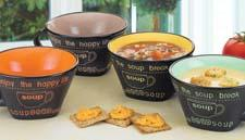 Soup's On Mugs by Global Amici come in four assorted colors and retail for $24.99 for a set of four. globalamici.com