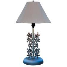 Shady Lady's Bayou Oak outdoor table lamp is inspired by New Orleans wrought iron railings with scrollwork and rosettes. shadyladylighting.com