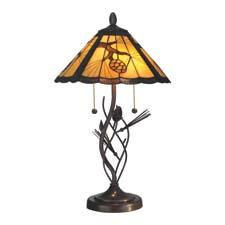 Dale Tiffany's Ponderosa table lamp stands 26.75 inches high and has a walnut finish. daletiffany.com