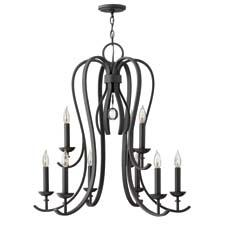 Available in four SKUs, Hinkley Lighting's Marion collection includes this chandelier styled in a minimalist, forged iron design. hinkleylighting.com