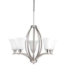 Besides the five-light chandelier here, Progress's new Joy collection includes three- and nine-light chandeliers, mini-pendants, and bath/vanity options. progresslighting.com