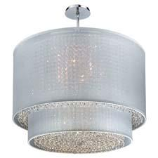 Glow Lighting's Duet pendant chandelier pairs sheer shades with crystal. Shades are available in black, taupe or white. glowlighting.com