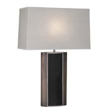 Robert Abbey's Emile table lamp is shown here in a black walnut finished wood with brushed nickel and black leather accents. robertabbey.com