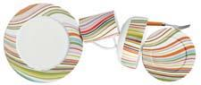 Marble is one of seven dinnerware patterns in the new Echodesign collection from Robinson Home Products. echodesign.com