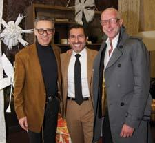 Ken Wampler of Alpha Workshops, which made the papier mâché flowers in the Forty One Madison lobby; interior designer Michael Tavano, who created the lobby settings for Luxe magazine; and interior designer Jamie Drake.