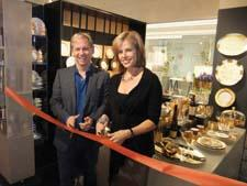 Marc Blackwell and Sheila Charton of Merchandise Mart Properties Inc. cut the ribbon on Blackwell's new space at Gallery on Six at 7 W New York.