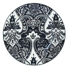 The new Spectator accent plate highlights a popular dinnerware pattern. fitzandfloyd.com