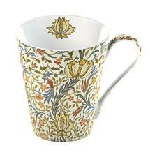 An 1891 William Morris wallpaper pattern from Victoria & Albert Museum archives inspired this Flora fine bone china mug. creative-tops.com