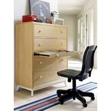 The Mix line from Young America has innovative, multifunctional features, like a writing surface that pulls out of pieces like dressers and storage chests. youngamerica.com