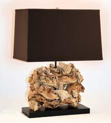 This driftwood table lamp, #827, measures 27 inches high and 17 inches wide. lampworks.com