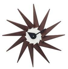 A re-edition of George Nelson's Turbine clock from 1957, Kirch's Pinewood wall clock is available in espresso, rosewood and natural finishes. kirch.com