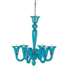 Currey's Giustina chandelier is made of glass and brass and comes in a blue nickel finish. curreyandcompany.com