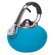 Now in sea blue, the Loop enamel-on-steel tea kettle from Chantal has a trigger-pull whistle system and ergonomic handle. chantal.com