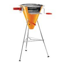 Bodum's FYRKAT picnic charcoal grill features a unique funnel shape and two grilling options: a traditional grill top and a removable, battery-operated rotisserie. bodum.com