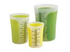 Available as a set or separately, Chef'n's Sleekstor Pinch+Pour Beakers are safe for hot liquids or microwave use and come in various green colors. chefn.com