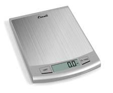 The Escali Passo is a stainless steel scale with a capacity of 22 pounds. It features a backlit LCD screen display and a tare function. escali.com