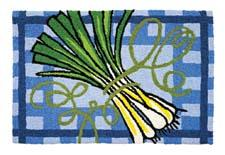 The Spring Onions design by Rebecca Harrell is one of Jellybean's newest indoor/outdoor washable accent rugs, made of a polypropylene and acrylic blend. jellybeanrug.com