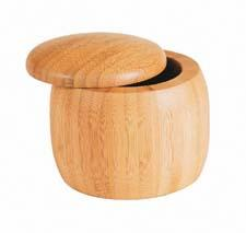 Island Bamboo's Salt Cellar with lid can both showcase and protect gourmet salts or dry seasonings. wilshireindustries.com