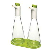 With Joseph Joseph's FLO, users can adjust the flow of oil or vinegar while pouring by depressing the large button on each cap. josephjoseph.com