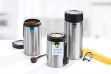 In three sizes, Brabantia's magnetic canisters come with magnetic measuring spoon or spaghetti measure as well as a window in the lid so the contents are easy to see. brabantia.com