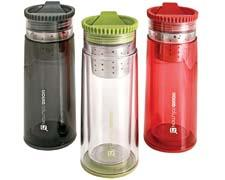 For hot tea on the go, Liquid Solutions' Majes-tea is made of BPA-free double-wall plastic and has a stainless steel removable brewing basket for loose leaf or bagged tea. liquid-solutions.com