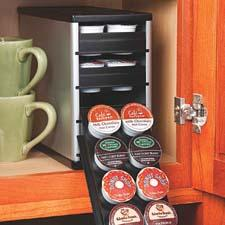 Measuring just over five inches wide and fitting in all standard kitchen cabinets, the CoffeeStack from Youcopia organizes 40 K-Cups and comes in black and silver. YouCopia.com