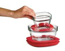 Rubbermaid Glass with Easy Find Lids are designed to neatly nest together. Lids attach to each other. rubbermaid.com