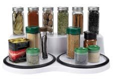 The OXO Good Grips Rotating Spice Organizer neatly holds more than 20 standard spice bottles, and has two side-by-side turntables so spices can be separated by savory and sweet. oxo.com