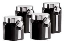 Oggi expands its canister category with the four-piece Hexagon Ceramic Canister Set. It has stainless steel spoons, a twist-off lid and comes in black or white. oggicorp.com