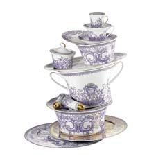 Rosenthal's Versace brand is trend-right with Le Grand Divertissement, a lavish design in purple on white. rosenthalusa.com