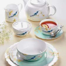 Spode's bone china launch includes Nectar, a bird- and floral-themed pattern in a soft aqua colorway. spode.co.uk