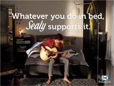 "Sealy's new ad campaign supports whatever consumers do ""in bed."" sealy.com"