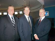 From left, Ryan Reigle of Regal Ware, Derek Miller of the IHA and Sean Daly of interDesign relax during the IHA party.