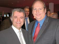 Sal Gabbay of Gibson, left, and Marc Delman of GLM are all smiles during the IHA party at the Switzerland restaurant.