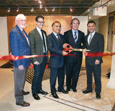 Safavieh's new licensed collections with Ralph Lauren Home launched at market. At the ribbon cutting were Chas Sydney, AmericasMart; Stephen Earle, Ralph Lauren Home; Cyrus Yaraghi, Safavieh; Jeff Portman, AmericasMart and Arash Yaraghi, Safavieh.