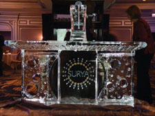 Surya kicked off its year-long celebration of its 35th anniversary with a party at the Ritz-Carlton Grand Ballroom, which included a custom-designed bar made of ice.