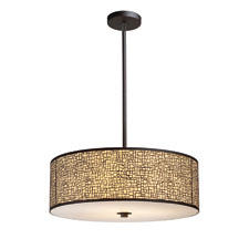 E.L.K. Lighting's Medina drum-shaped fixture is available in a polished stainless steel finish with a white diffuser or an aged bronze finish with a beige diffuser. elklighting.com