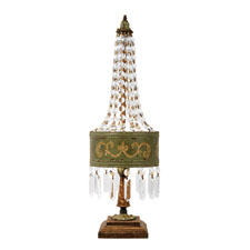 The Eiffel table lamp from Sterling Industries brings a French look to any interior, and has a green shade with crystal embellishments.  mysterlinghome.com