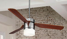 The Energy Star-rated Multimax, in chrome with reversible cherry/mahogany finished blades, can be assembled in 2-, 3- or 4-blade configurations. fanimation.com