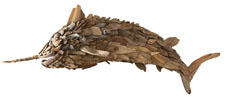 Made of natural driftwood, Lazy Susan's 60-inch-long Driftwood Marlin adds character to any wall—without singing songs. lazysusanusa.com